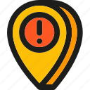 alert, caution, error, location, map, pin, problem icon