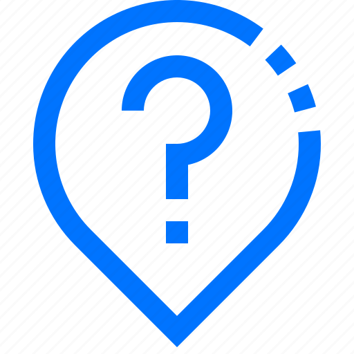 ask, direction, location, navigation, pin, question, unknown icon