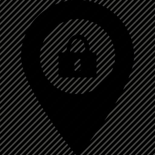 destination locked, lock destination, lock place, map locked, place locked icon