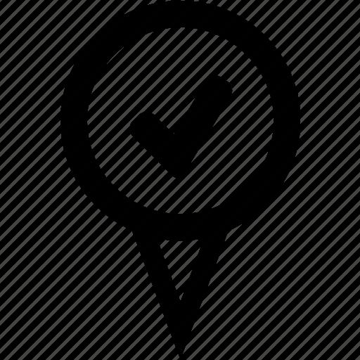 address approved, address verified, destination verified, location accepted, location approved icon