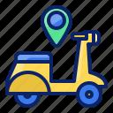 motorbike, transportation, location, pin, navigation, route, gps