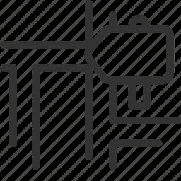 arrow, direction, location, map, navigate, navigator, road icon