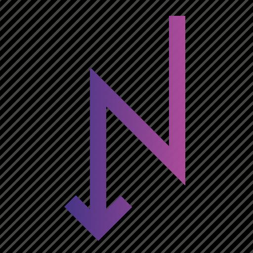 arrow, direction, down, location, road, zigzag icon