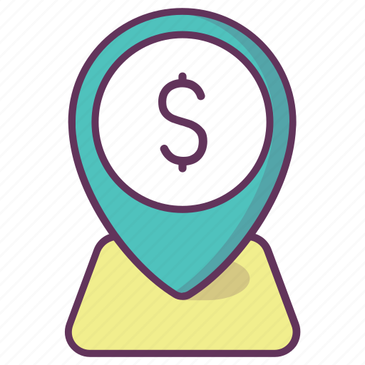 dollar, gps, location, map, navigation, pin, pointer icon