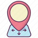 gps, location, map, motion, navigation, pin, pointer icon