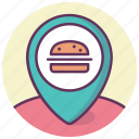 burger, fastfood, gps, location, map, navigation, pin icon