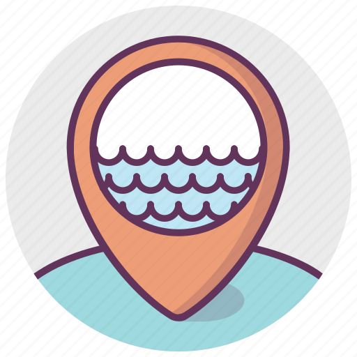 gps, location, map, navigation, pointer, water, waves icon