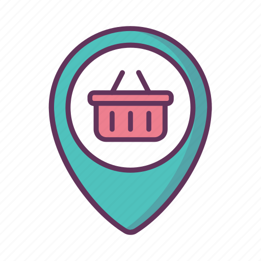 basket, gps, location, map, navigation, pin, shoping icon