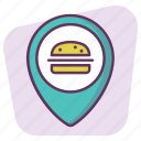 burger, fastfood, gps, location, map, navigation, pointer icon
