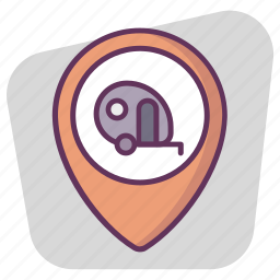 gps, location, map, navigation, pin, pointer, trailer icon