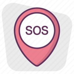 gps, location, map, navigation, pin, pointer, sos icon