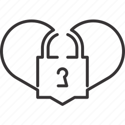 heart, key, lock, love, padlock, security icon