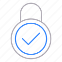 approved, checked, locks, padlock, protection, security icon