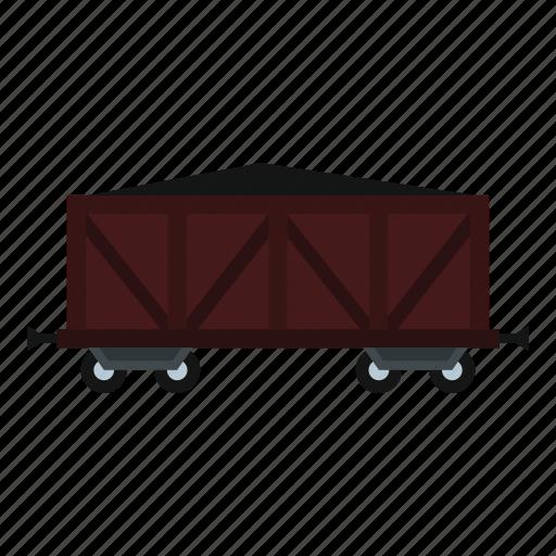 cargo, delivery, goods, line, traffic, train, wagon icon