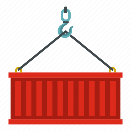 container, crane, delivery, heavy, lifting, line, shipping icon
