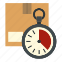 box, cardboard, carton, chronometer, clock, container, stopwatch icon