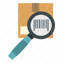box, cardboard, cargo, carton, container, glass, magnifying icon