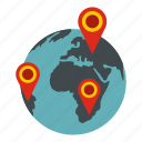 continent, earth, geography, global, globe, location, pointer icon