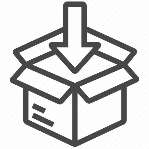 box, down, logistic, parcel icon