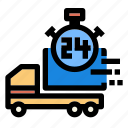 cargo, delivery, hour, logistic, shipping, transport icon