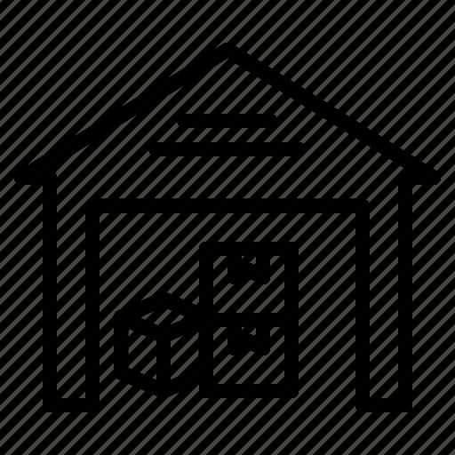 boxes, godown, shipping, storage, storehouse, transport, warehouse icon