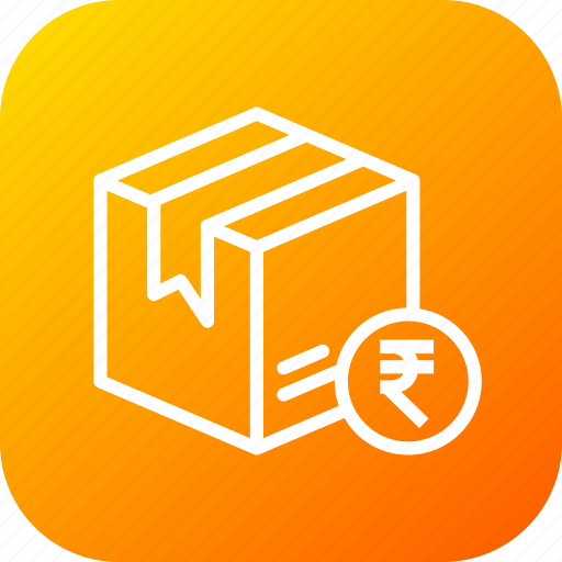 box, cod, delivery, logistic, package, parcel, rupee icon