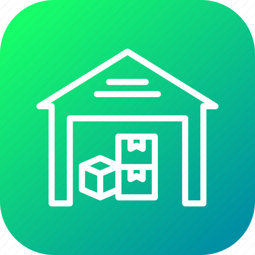 boxes, godown, logistic, parcel, shipping, storage, warehouse icon