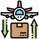 airmail, cargo, export, express, import icon