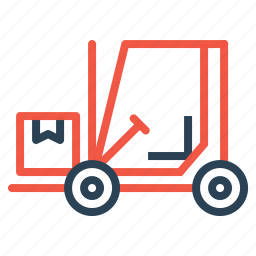 boxes, delivery, forklift, logistic, parcel, shipping, transport icon
