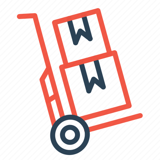 boxes, delivery, handtruck, logistic, parcel, shipping, transport icon