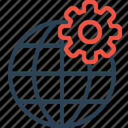 globe, globel, international, logistic, setting, travel, world icon