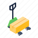 pallet truck, cart, luggage cart, handcart, pushcart icon