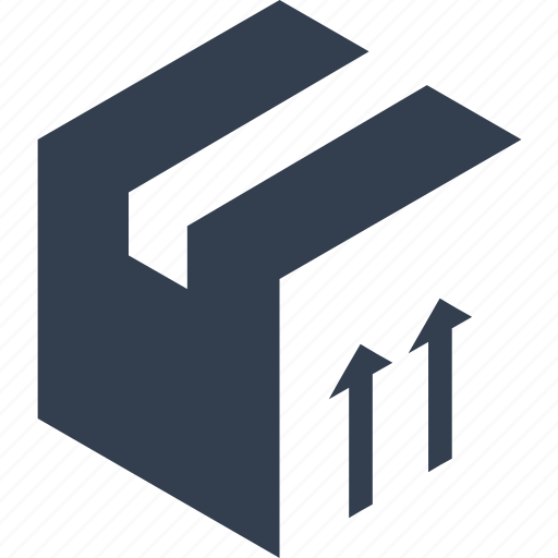 arrow, box, delivery, distribution, isometric, logistic, service, shipping, transport, transportation, up icon