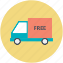 delivery service, delivery van, delivery vehicle, free delivery, freight icon
