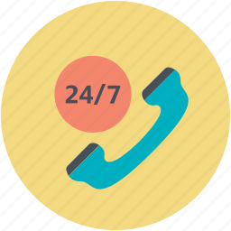 around the clock, call service, call support, emergency service, hotline icon