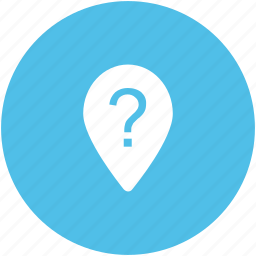 destination, location pin, navigation, question mark, traveling concept, unknown location icon