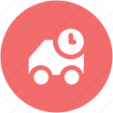 cargo truck, clock sign, delivery van, freight, hatchback, logistic delivery, shipping icon