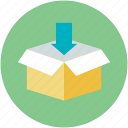 carton box, down arrow, download, open box, packaging icon