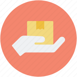 cardboard box, delivering, hand holding, hand to hand, parcel icon