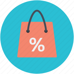 online shopping, percent sign, shopping, shopping bag, shopping element icon