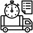 express shipping, in time delivery, order list, shipping time, timely service icon