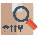 cardbox under magnifier, package analysis, parcel tracking, shipment search, supervision icon