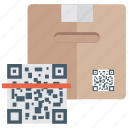 logistics, parcel code scanning, parcel scanning, parcel tracking, scan package icon