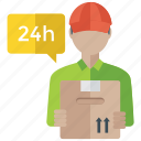 24 hour services, customer representative, customer service, customer support, quick services icon