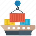 cargo container, container loading, loading, logistics, shipping container icon
