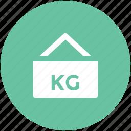 hanging sign, info, kilo, kilogram, measurement, weight kg, weight unit icon