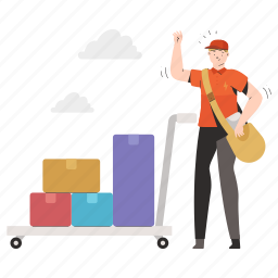 delivery, logistic, box, package, trolley, man, person