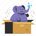 delivery, logistic, elephant, large, box, package, weight