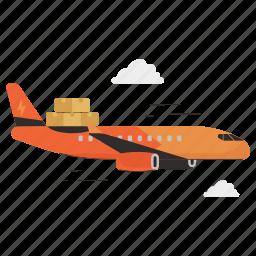 delivery, transportation, logistic, airplane, aeroplane, plane, box
