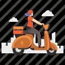 delivery, transportation, logistic, vespa, woman, bike, transport